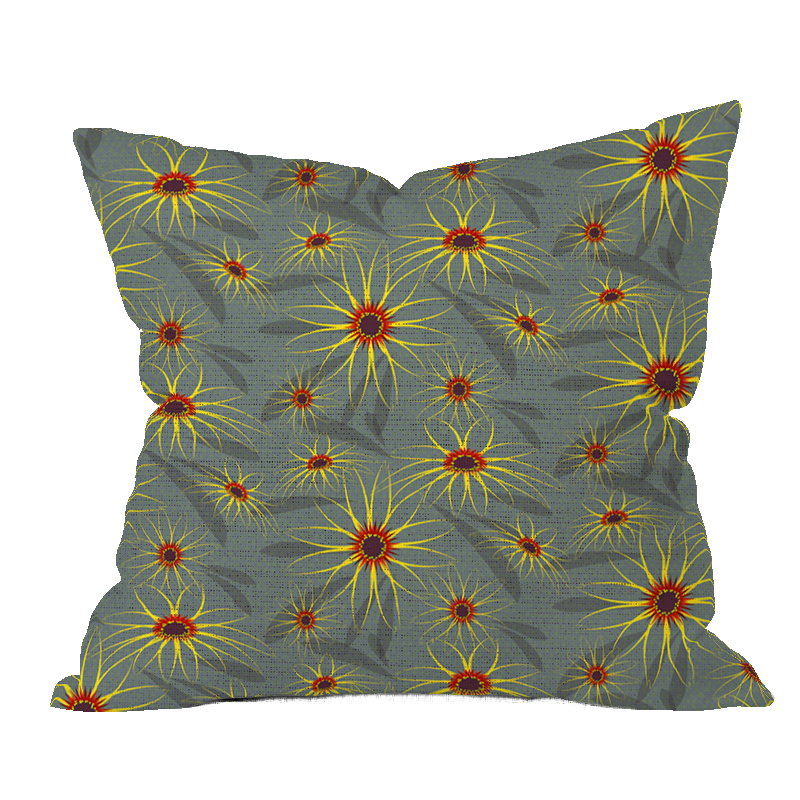 Field Marigold Gray Floral Pillow Cover