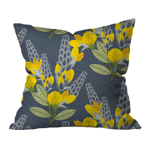 Golden Banner Floral Outdoor Pillow
