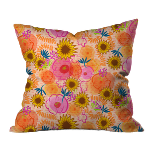 Lantana Boho Orange Floral Pillow Cover