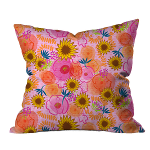 Lantana Boho Pink Floral Pillow Cover