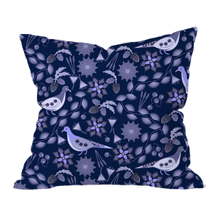 Moonlit Doves Floral Pillow Cover