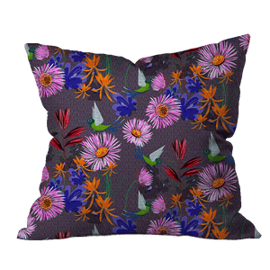Pattie's Hummingbirds Floral Pillow Cover