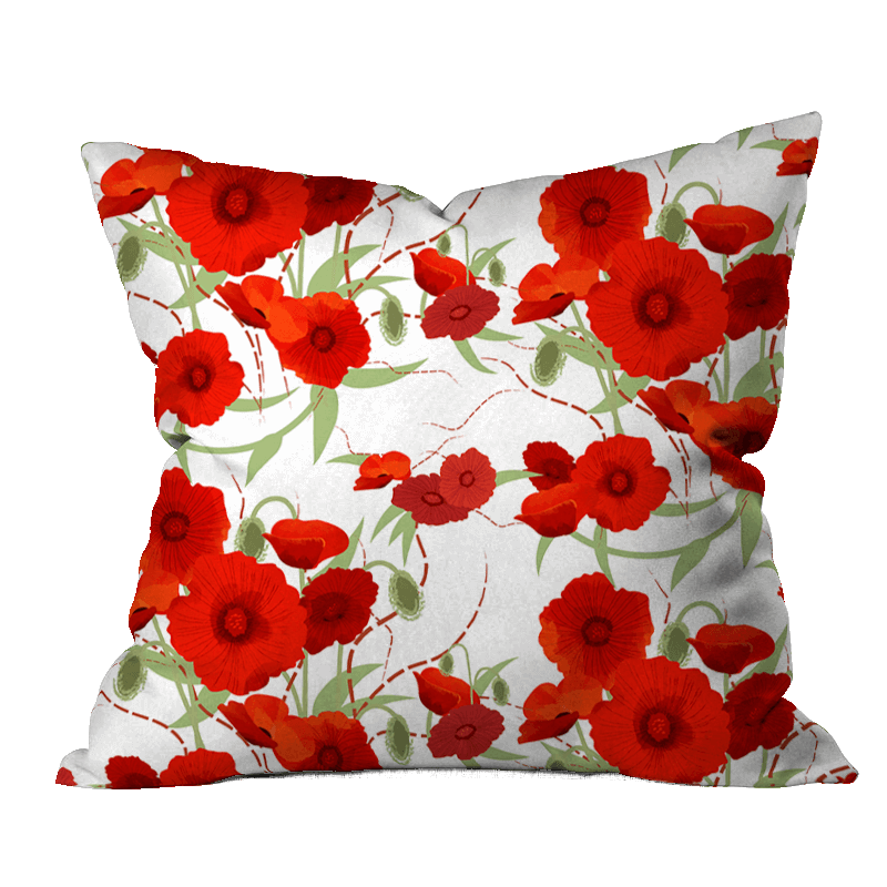 Poppy Party Floral Pillow Cover