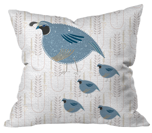 Quail Family Pillow Cover