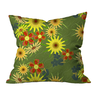 Salsify Green Floral Pillow Cover