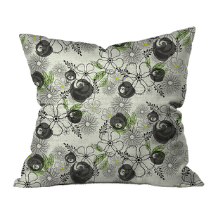 Sketchy Flowers Floral Outdoor Pillow