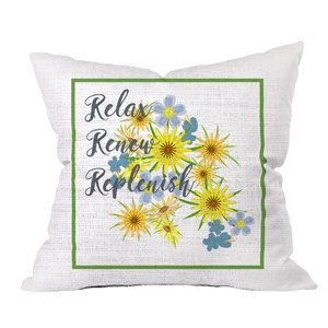 Relax Renew Floral Pillow Cover