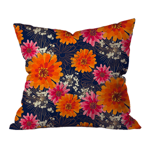 Zinnias and Allium Floral Pillow Cover