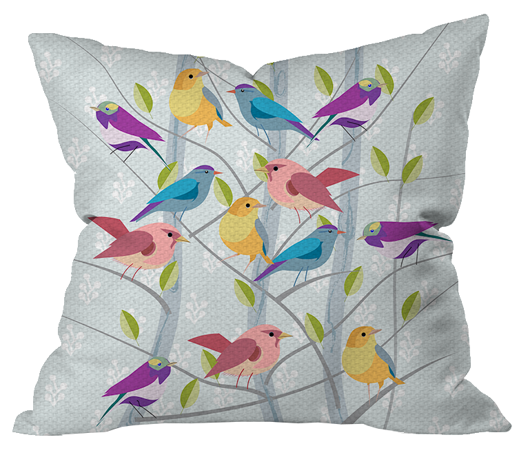 Birds on Branches Outdoor Pillow