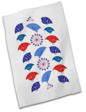 Holiday Birds and Berries Cotton Tea Towel