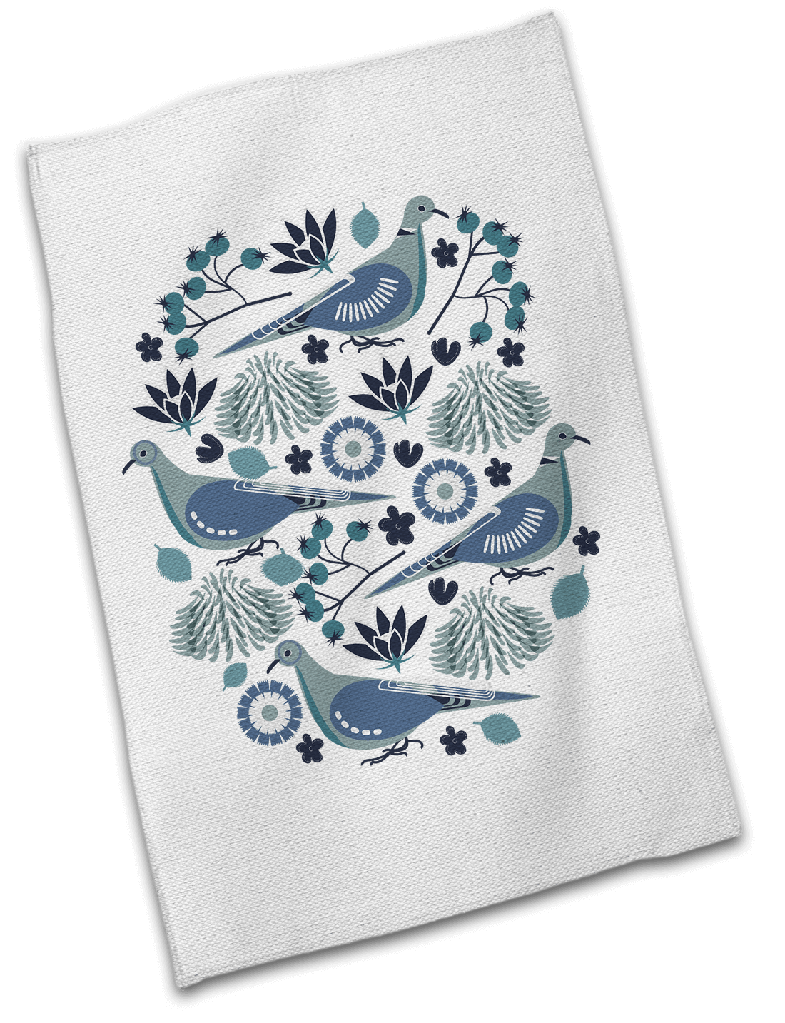 Nordic Doves Floral Cotton Tea Towel