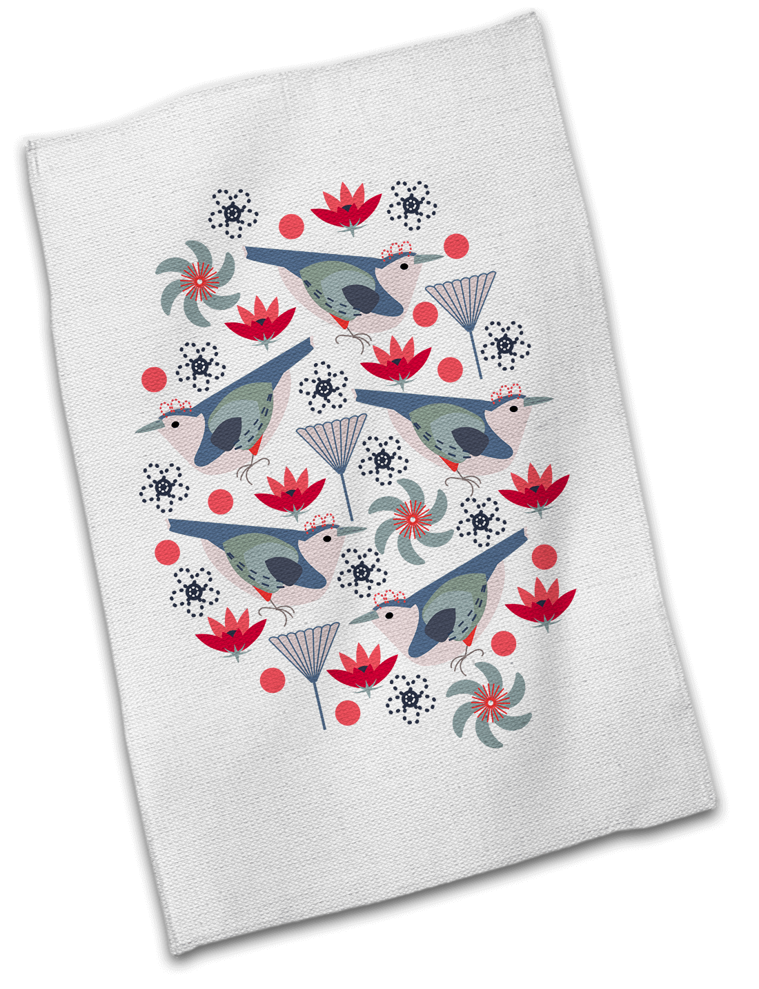 Sweet Wrens Floral Cotton Tea Towel