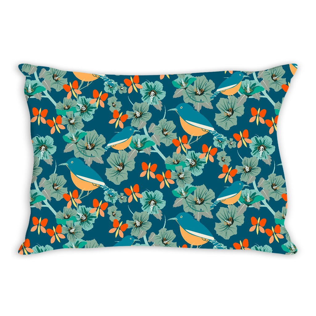Birds in Hibiscus Floral Pillow Cover