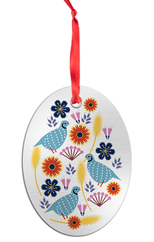 Boho Partridge Holiday Ornament