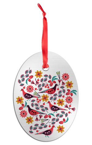 Scandi Doves Holiday Ornament