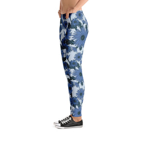 Blue Asters Floral Leggings