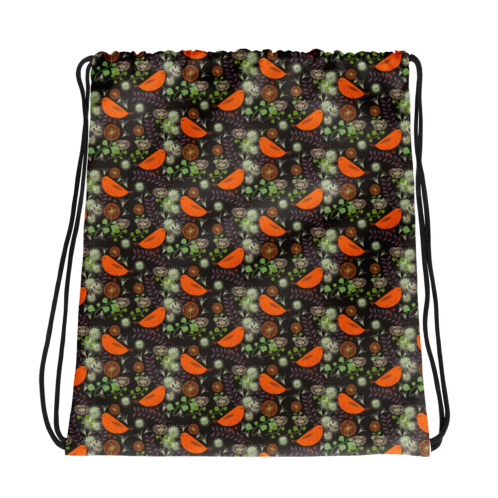 Birds & Clematis Floral Drawstring bag