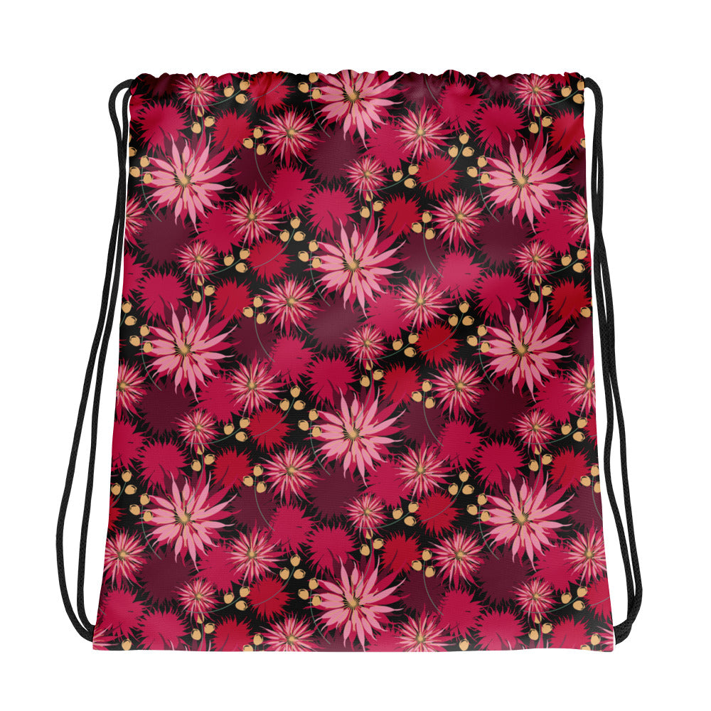 Bold Bouquet Floral Drawstring bag