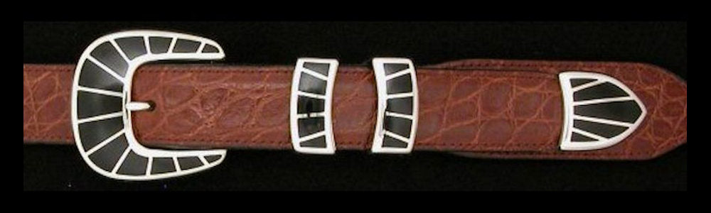 "#1158BJ FRAMED STONE  with Black Jade Inlay 4 Pc Buckle Set for 1"" belts $895.00. Special Order Extra Tip $250.00"