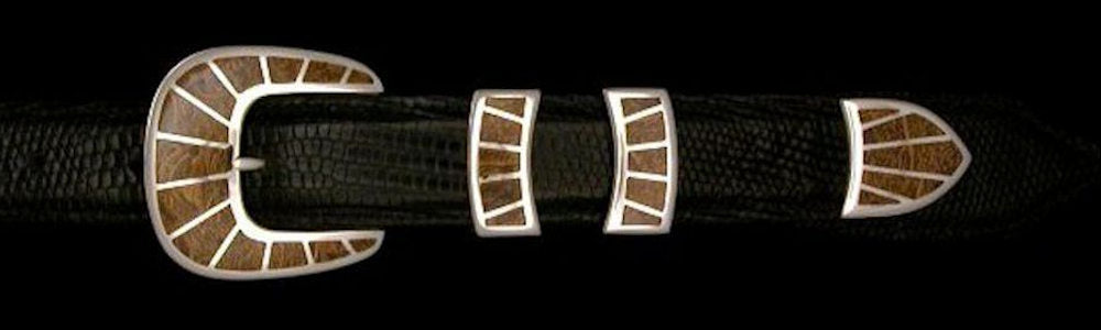 "#1158FJ FRAMED STONE 4 Pc Buckle Set with Fossilized Jasper Inlay for 1"" belts $895.00. Special Order Extra Tip $250.00"