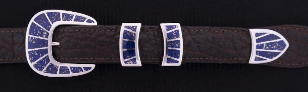 "#1158L FRAMED STONE  with Lapis Inlay 4 Pc Buckle Set for 1"" belts $895.00. Special Order Extra Tip $250.00 - Santa Fe Buckle Company"
