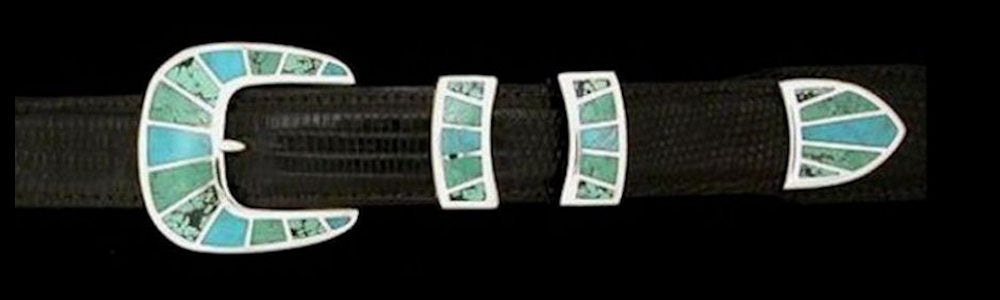 "#1158MT FRAMED STONE 4 Pc Buckle Set with Multi-turquoise Inlay for 1"" belts  $895.00. Special Order Extra Tip $250.00 - Santa Fe Buckle Company"