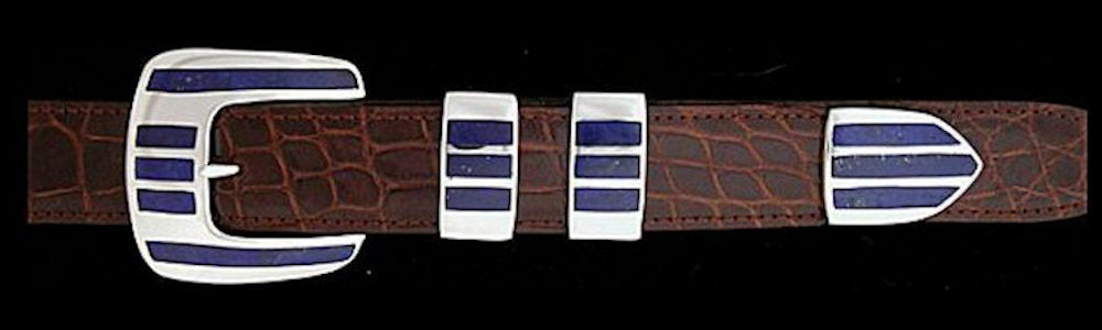 "#1162L FIVE ROW STONE  with Lapis Inlay 4 Pc Buckle Set for 1"" belts $945.00. Special Order Extra Tip $285.00 - Santa Fe Buckle Company"
