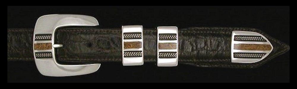 "#1166FJ  BRAIDS WITH STONE with Fossilized Jasper Inlay 4 Pc Buckle Set for 1"" belts $695.00. Special order Extra Tip $165.00"