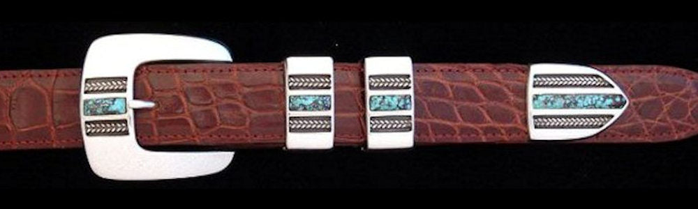 "#1166T  BRAIDS WITH STONE with Turquoise Inlay 4 Pc Buckle Set for 1"" belts $695.00. Special Order Extra Tip $165.00"