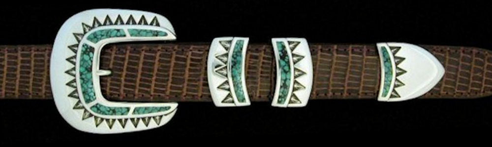 "#1168T STONE SPECIAL with Turquoise Inlay 4 Pc Buckle Set for 1"" belts $845.00. Special Order Extra Tip $165.00"