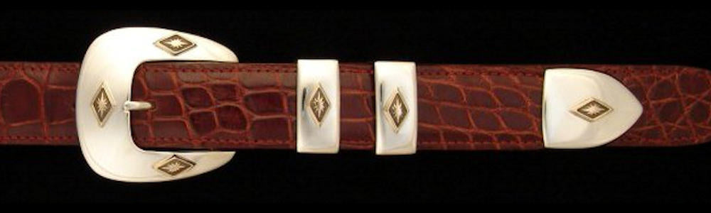 "#0132G SIX STARS Buckle Set with 14k Gold Overlay  for 1"" belts priced from $580.00 for the single buckle to $1250.00 for the 4 pc set. Extra tips are available for $224.00 - Santa Fe Buckle Company"