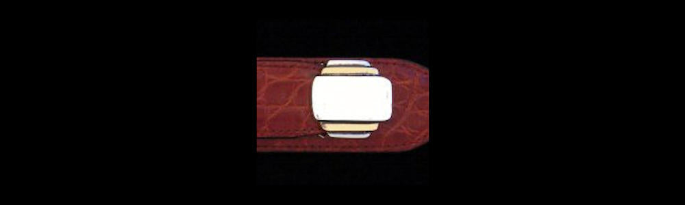 "#0133G JETSON Buckle Set for 1"" belts with 14k Gold Overlay priced from $550.00 for the single buckle to $1195.00 for the 4 pc set. Extra tips are available for $235.00 - Santa Fe Buckle Company"