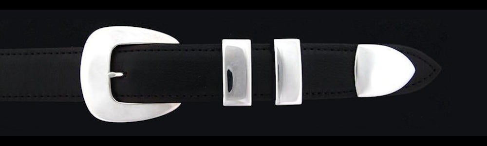 "#0136 CLASSIC Buckle Set for 1"" belts priced from $180.00 for the single buckle to $445.00 for the 4 pc set. Extra tips are available for $95.00 - Santa Fe Buckle Company"