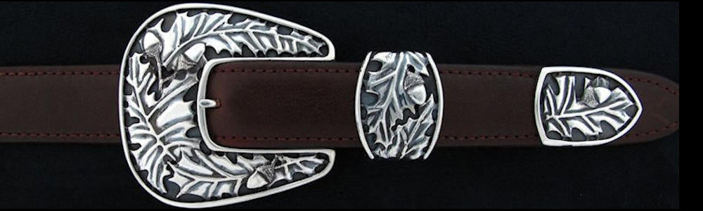 "#0139 OAKLEAF Buckle Set for 1"" belts from $330.00 for the single buckle to $650.00 for the 3 pc set. Extra tips are available for $160.00 - Santa Fe Buckle Company"