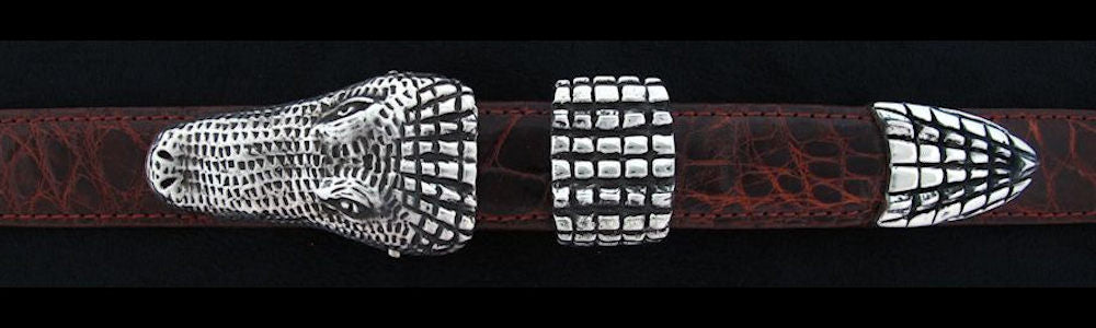 "#0140 ALLIGATOR Buckle Set for 1"" belts from $230.00 for the single buckle to $650.00 for the 4 pc set. Extra tips are available for $140.00 - Santa Fe Buckle Company"