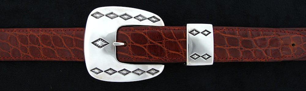 "#0141 JESTER Buckle Set for 1"" belts from $240.00 for the single buckle to $595.00 for the 4 pc set. Extra tips are available for $125.00 - Santa Fe Buckle Company"