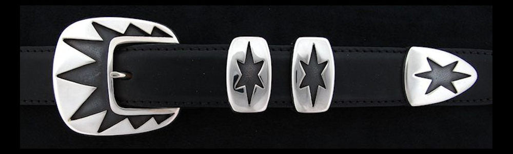 "#0143 TRIPLE STARBURST Buckle Set for 1"" belts from $230.00 for the single buckle to $570.00 for the 4 pc set. Extra tips are available for $120.00 - Santa Fe Buckle Company"