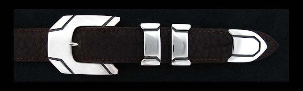 "#0144 METRO Buckle Set for 1"" belts from $200.00 for the single buckle to $490.00 for the 4 pc set. Extra tips are available for $100.00 - Santa Fe Buckle Company"