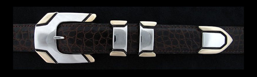 "#0144G METRO Buckle Set with 14k Gold Overlay for 1"" belts from $360.00 for the single buckle to $995.00 for the 4 pc set. Extra tips are available for $255.00 - Santa Fe Buckle Company"