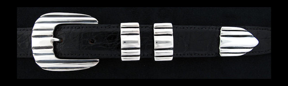 "#0145 CADDY '56 Buckle Set for 1"" belts from $240.00 for the single buckle to $555.00 for the 4 pc set. Extra tips are available for $115.00 - Santa Fe Buckle Company"