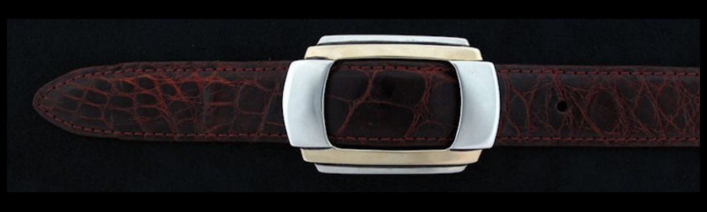 "#0146G ART DECO Single Buckle with 14k Gold Overlay for 1"" belts $730.00 - Santa Fe Buckle Company"