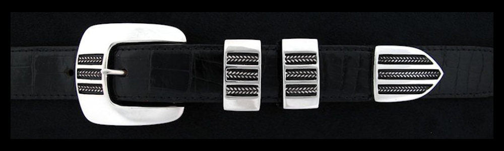 "#0151 THREE BRAIDS Buckle Set for 1"" belts from $240.00 for the single buckle to $590.00 for the 4 pc set. Extra tips are available for $120.00 - Santa Fe Buckle Company"