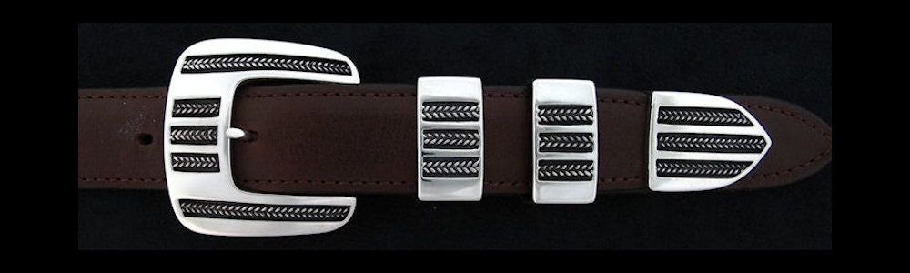 "#0152 FIVE BRAIDS Buckle Set for 1"" belts from $240.00 for the single buckle to $590.00 for the 4 pc set. Extra tips are available for $120.00 - Santa Fe Buckle Company"