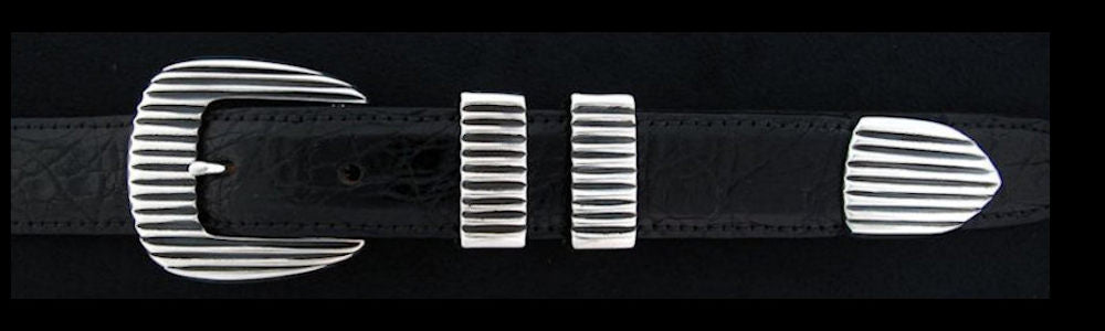 "#0155 FINE LINES Buckle Set for 1"" belts from $180.00 for the single buckle to $445.00 for the 4 pc set. Extra tips are available for $95.00 - Santa Fe Buckle Company"