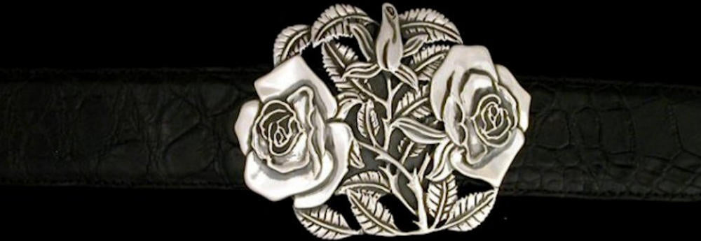 "#0172 MINDY'S ROSES Single Piece for 1 1/2"" belts $595.00 - Santa Fe Buckle Company"