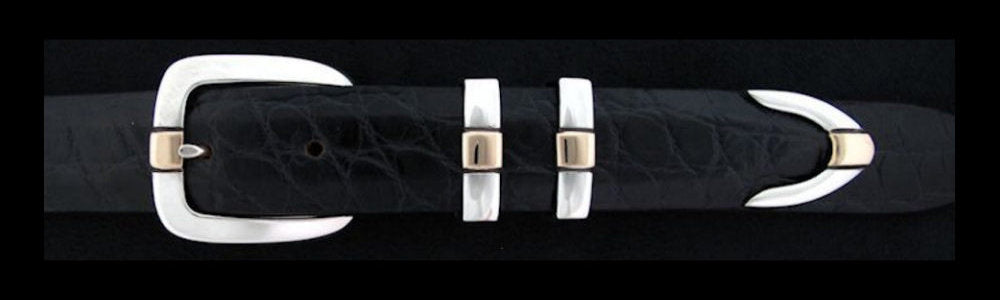 "#0175G PARALLEL DOUBLE KEEPER with 14k Gold Overlay Buckle Set for 1"" belts from $180.00 for the single buckle to $630.00 for the 4 pc set. Extra tips are available for $190.00 - Santa Fe Buckle Company"