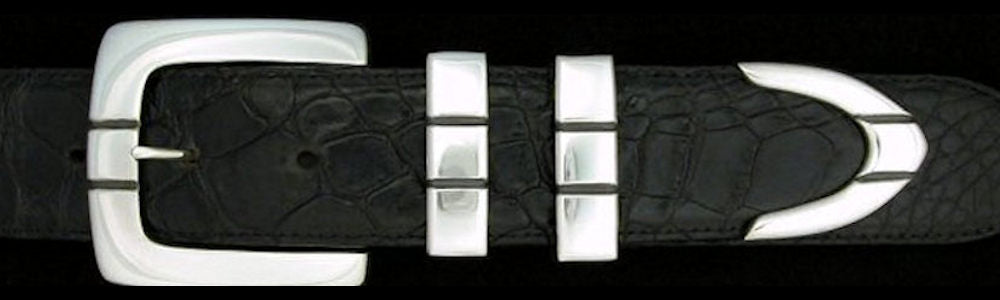 "#0177 PARALLEL SQUARE Buckle Set for 1 1/2"" belts from $275.00 for the single buckle to $690.00 for the 4 pc set. Extra tips are available for $145.00 - Santa Fe Buckle Company"
