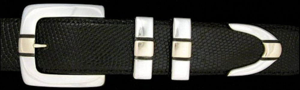 "#0177G PARALLEL SQUARE Buckle Set with 14k Gold Overlay for 1 1/2"" belts from $396.00 for the single buckle to $1,290.00 for the 4 pc set. Extra tips are available for $360.00 - Santa Fe Buckle Company"
