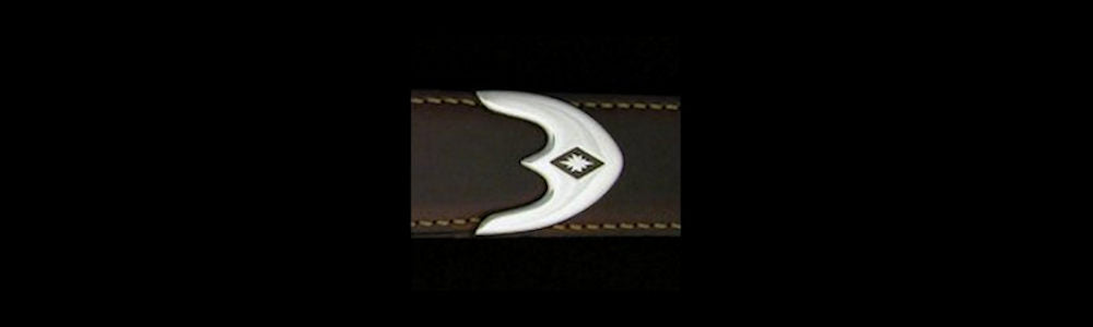 "#0179 SIX STARS with TRIDENT TIP Buckle Set for 1 1/4"" belts from $195.00 for the single buckle to $490.00 for the 4 pc set. Extra tips are available for $105.00 - Santa Fe Buckle Company"