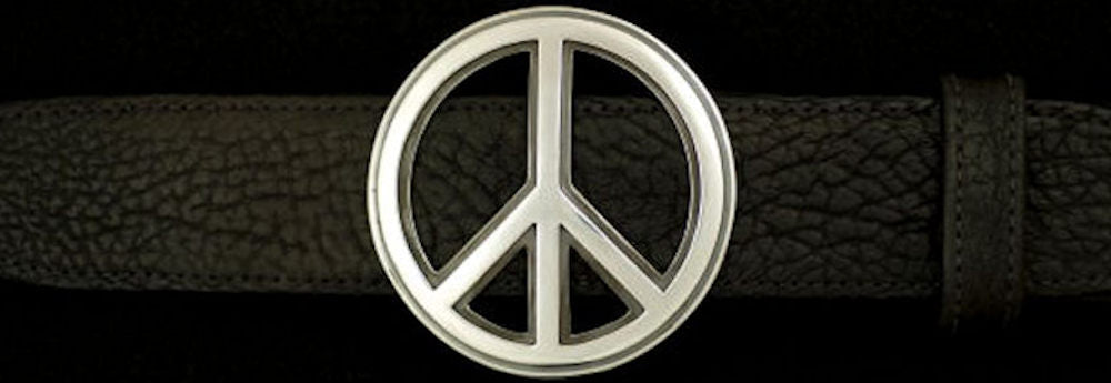 "#0186 PEACE BUCKLE Single Piece for 1 1/2"" belts $295.00 - Santa Fe Buckle Company"